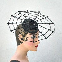 Halloween Costume, Spider Hat, Web Hat, Witch Couture Spider Web Fascinator Cocktail Hat- Batcakes Couture