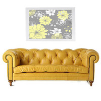 Yellow and Gray Floral Pattern Original Artwork 13x19