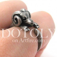 Miniature Mountain Sheep Ram Animal Ring in Silver Sizes 4.5 to 9 available