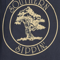 Southern Sippin': Oak Tree Shirt: Navy