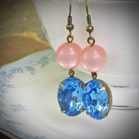 Vintage Rhinestone Earrings, Pink, Blue, Moonstone, Retro