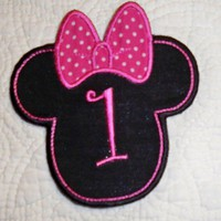 Personalize  large black Minnie applique iron on patch with pink bow