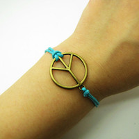 Anti-war peace peaceful  Adjustable Vintage Bracelet With Blue Ropes Cuff Bracelet Vintage bracelet  867S