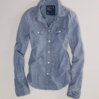 AE Chambray Western Shirt | American Eagle Outfitters