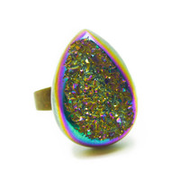 Titanium Quartz Rainbow Druzy Ring Teardrop Pear Shape n.3