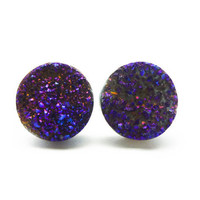 Cobalt Blue Flame Druzy Stud Earrings n.69