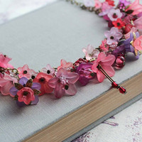 Flower Charm Necklace, Lucite Flower Necklace, Fuchsia Pink, Mauve Purple, Berry Merlot, Pale Pink