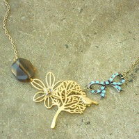 A Bird And A Bow Necklace [2351] - $18.00 : Vintage Inspired Clothing & Affordable Summer Dresses, deloom | Modern. Vintage. Crafted.