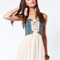A'GACI Denim Corset Tulle Dress - Dresses