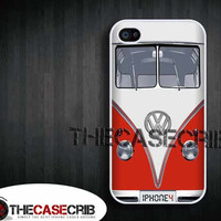Iphone case -VW bus in Red , Iphone 4 case , Iphone 4s case Volkswagen