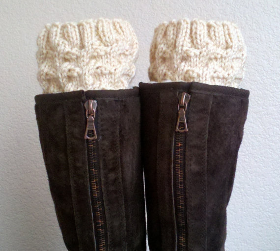 Legwarmers / Boot socks / Boot cuffs / Boot tops  for girls, teens, women - BEIGE - (more colors available)