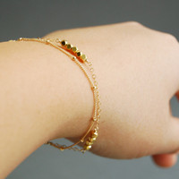 Hokulani bracelet - gold nugget 14kt gold filled layered bracelet, delicate bracelet, satellite chain, karen hill tribe beads, made in maui