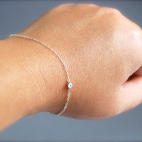 Hoku bracelet - cubic zirconia solitaire set in silver plated brass on a sterling silver chain chic classic simple modern, maui, hawaii