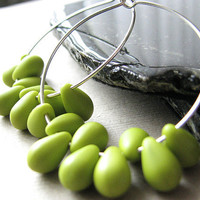 Large Silver Hoops - Lime Green Earrings, Beaded Hoop Earrings, Czech Teardrop Beads