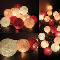 20 Mixed Magenta Tone Handmade Cotton Balls Fairy String Lights Home Decor