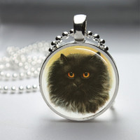 Round Glass Pendant Bezel Pendant Cat Pendant Black Cat Necklace Photo Pendant Art Pendant With Silver Ball Chain (A3924)