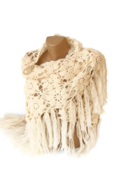 FREE SHIPPING ivory cream shawl,Women soft warm shawl,Fall fashion,gifts for her ,Best MOHAIR Shawl,by Seno