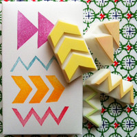 GEOMETRIC - hand carved rubber stamp set - 4 designs - patterns - frames -packaged in a box - no2