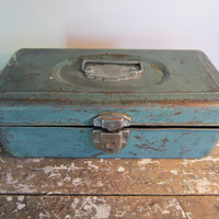 Rustic Union Utility Chest Jewelry Box Storage Box Shabby Chic Decor Tackle Box