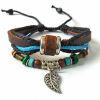 jewelry bangle leather bracelet men bracelet women bracelet made of ropes, brown leather, wooden beads,metal cuff SH-1228