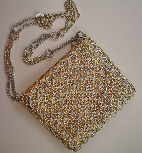 Vintage Walborg Evening Bag / Silver Chain Evening Bag / Silver Mesh Evening Bag