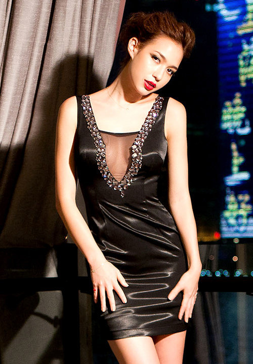 Black Rhinestone Sleeveless Deep V-neck Dress at Online Apparel Store Gofavor