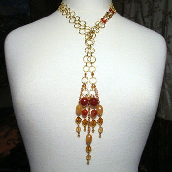 Unique gemstone citrine fire crab agate Swarovski necklace