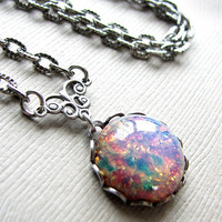 Glass Fire Opal And Antiqued Silver.. on Luulla