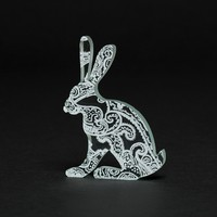 White Paisley Hare Glass Sculpture  on Luulla