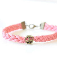 Peace Charm Braided Bracelet - Pink