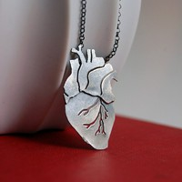 Ready To Ship Anatomical Heart Oxidized Sterling Silver by MarKhed