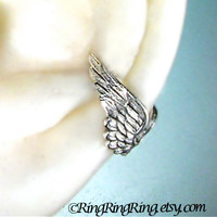 Angel wing silver ear cuff earring jewelry