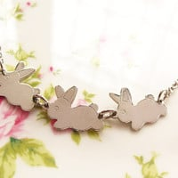 Silver Bunnies Charm Necklace, Trio.. on Luulla
