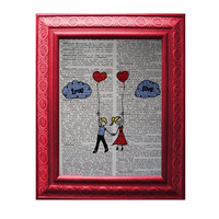 True Love Doodle Vintage French Dictionary Page Original Art Engagement Personalize Available