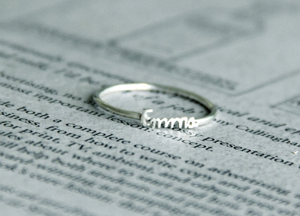 intial name ring in handwriting font - sterling silver names ring