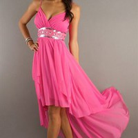 Couture Pink A-line Straps Chiffon High Low Cocktail Dress-$138.97-ReliableTrustStore.com