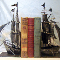 1970s Cape Code Metal Folk Art Boat Bookends