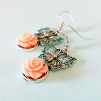 TENDER FRAGRANCE Patina Butterfly Rose Shabby Chic Earrings in Antique Silver and Salmon Pink Lucite from the Vintage Garden