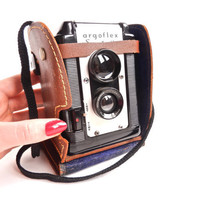 Argus Argoflex Seventy-Five - Mid Century Box Camera with Brown Case / Retro Photography