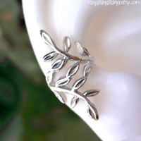 Laurel leaf silver ear cuff earring jewelry - 925 Sterling Nymph Daphne earcuff