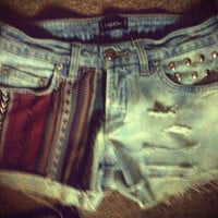 Cute Tribal Low Rise Studded Shorts / Perfect for summer /