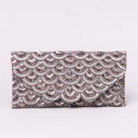 Miriam Hand Beaded Clutch in Pewter