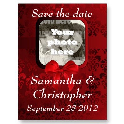 Red damask save the date wedding invite post cards from Zazzle.com