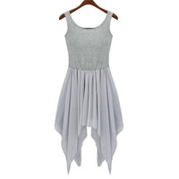 Gray Sleeveless Chiffon Dress with Fitted Top&Flowy Skirt