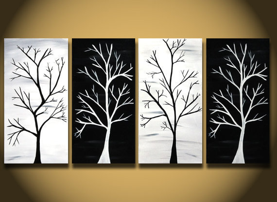 Wall Art In Black And White : White painting huge trees abstract from oritart on etsy my