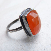 rose cut carnelian ring - sterling silver ring - gemstone jewelry