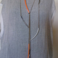 Orange, black and white pvc necklace