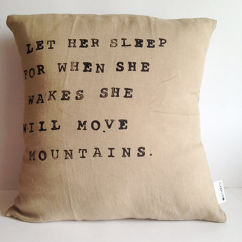 Inspirational Quote Pillow - Handmade Natural Linen Pillow Cover - Linen Fabric