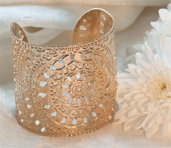 Rose Gold cuff circles moroccan henna design - moroccan jewelry