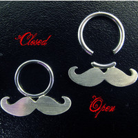 Sterling Silver and Stainless Steel Mustache Septum -Nose - Ring (donation to Prostate cancer research)